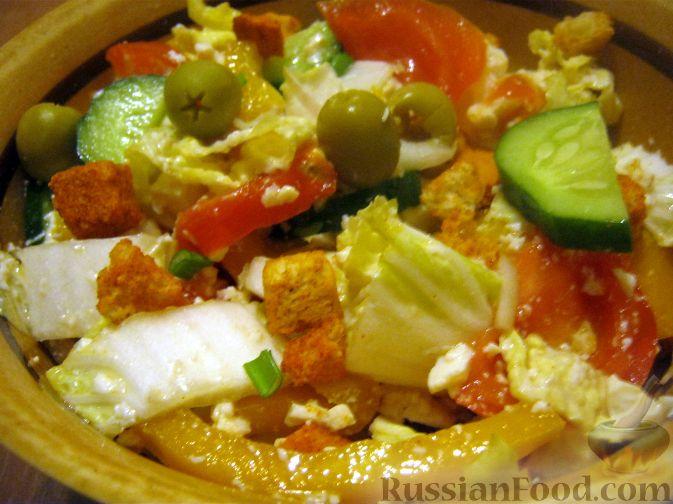 Рецепт Простой салат из брынзы с овощами