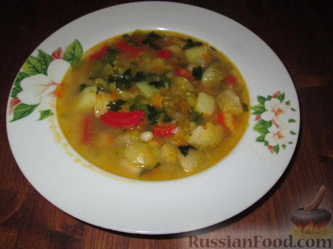 Рецепт Овощной суп с брюссельской капустой и фасолью