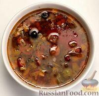 """Фото к рецепту: Суп """"Мясная солянка"""" в мультиварке"""