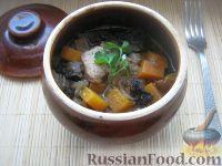 Фото к рецепту: Курица в горшочке с тыквой и грибами