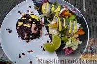 Фото к рецепту: Дорадо в рулетиках с овощами, рисом венере и соусом шафран