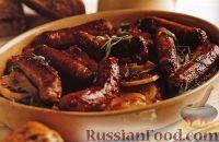 Фото к рецепту: Картофель, запеченный с колбасками