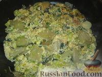 Фото к рецепту: Яичница-запеканка с мангольдом, пореем и сыром