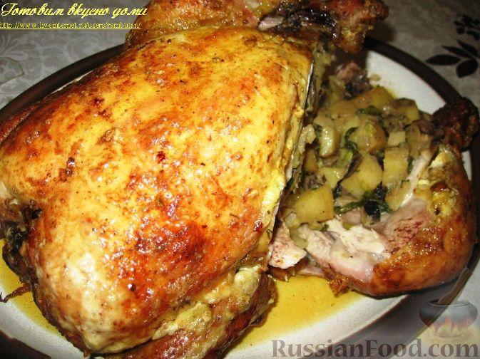 Рецепт Курица, фаршированная картофелем и грибами