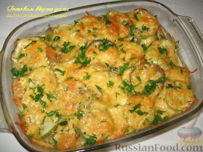 Мясо с кабачками и картошкой в духовке рецепт
