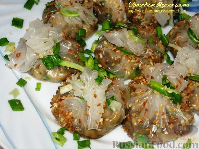 Рецепт Узелки из рисовой бумаги с грибами