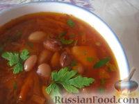 Фото к рецепту: Красный борщ с фасолью и черносливом
