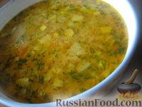 Фото к рецепту: Рассольник с маринованными кабачками и кукурузной крупой