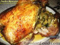 Фото к рецепту: Курица, фаршированная картофелем и грибами