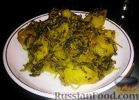 Фото к рецепту: Картофель, тушёный с пажитником (Aloo Methi)