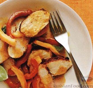 Рецепт Болгарский перец в соусе карри, с куриным филе