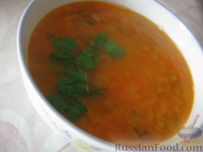Рецепт Гороховый постный суп с солеными огурчиками