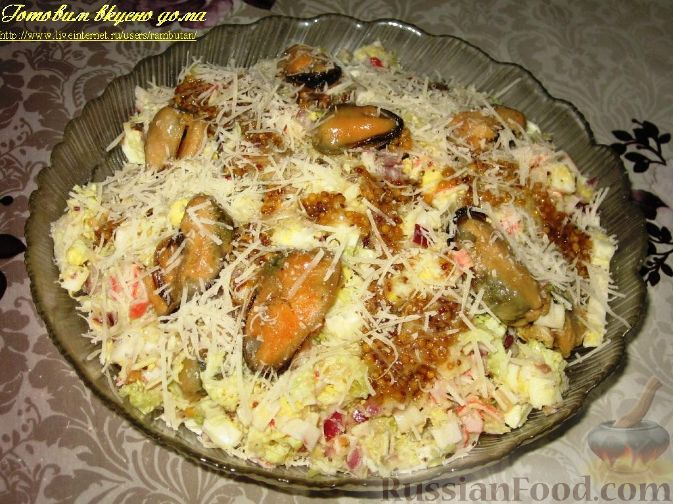 Рецепт Салат с копчеными мидиями
