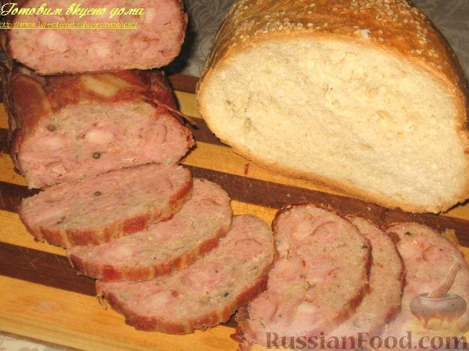 Рецепт Мясной рулет с окороком в беконе