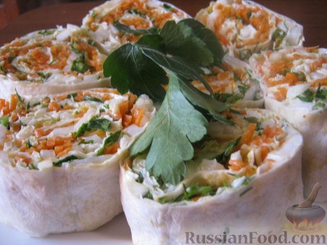 Рецепт Рулет из лаваша с овощами