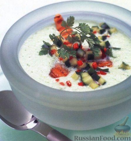 Рецепт Огуречный суп-пюре с лососем