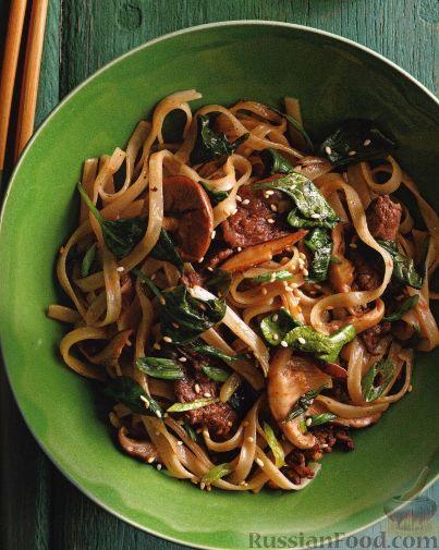 Рецепт Стир-фрай с грибами, мясом и рисовой лапшой
