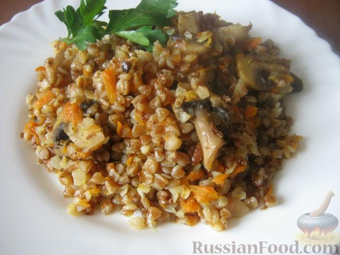 Рецепт Каша гречневая с шампиньонами и овощами