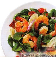 Фото к рецепту: Салат из шпината с креветками
