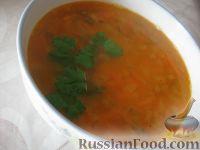Фото к рецепту: Гороховый постный суп с солеными огурчиками