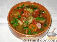 Фото приготовления рецепта: Суп из чечевицы с копченостями - шаг №6