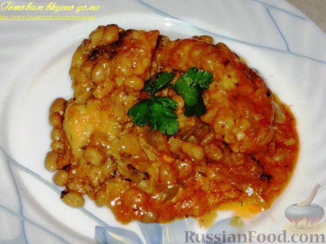 Рецепт Рыба с фасолью в горшочке