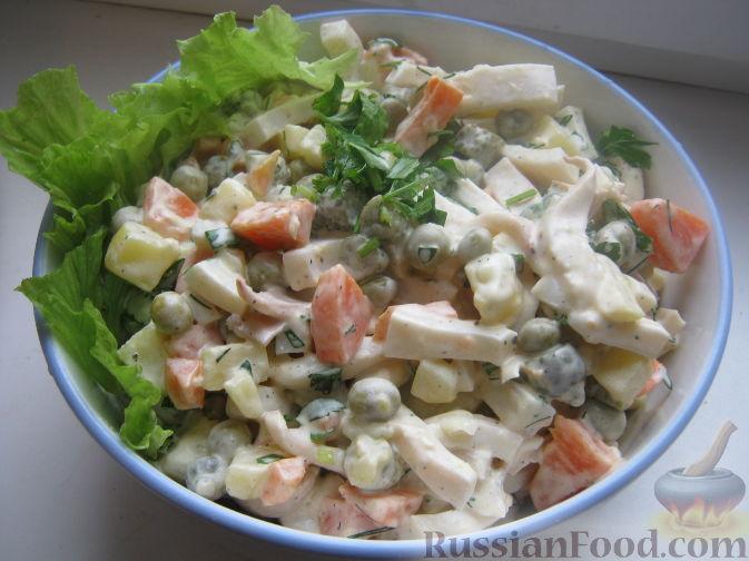 Рецепт Салат из кальмаров с картофелем и морковью