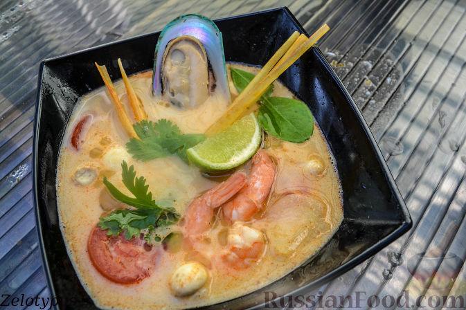 Рецепт Тайский суп с морепродуктами