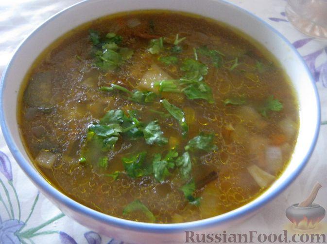 Рецепт Суп из сушеных грибов с кислым огурчиком