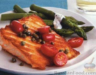 Рецепт Жареный лосось со спаржей
