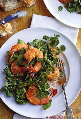Рецепт Салат с креветками и спаржей