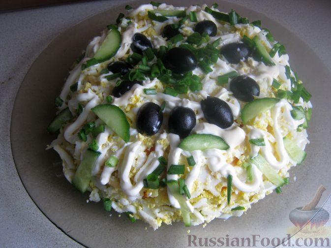 Слоеный салат с тунцом  рецепт салата с фото