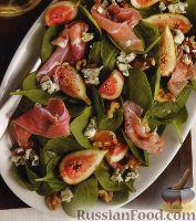 Фото к рецепту: Салат с инжиром, шпинатом и ветчиной