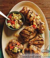 Фото к рецепту: Жареные куриные бедрышки с ананасовой сальсой
