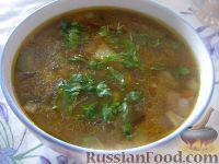 Фото к рецепту: Суп из сушеных грибов с кислым огурчиком