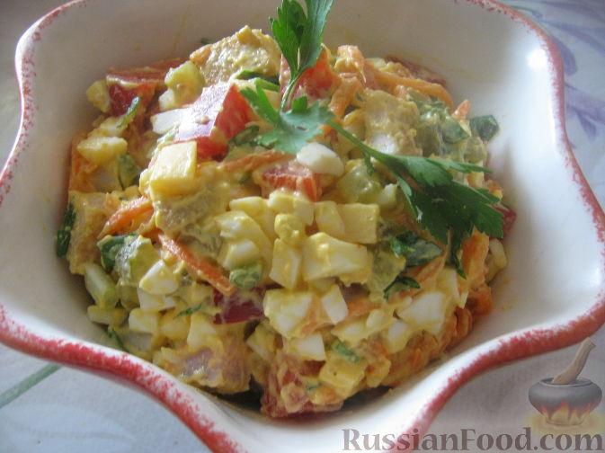 """Рецепт Салат """"Пестренький"""" со свининой, овощами, сыром"""