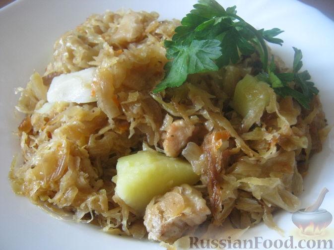Рецепт Свинина, тушенная с картофелем и квашеной капустой