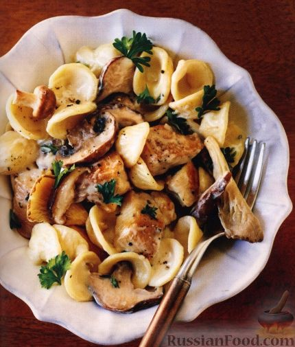 Рецепт Паста с куриным филе и грибами
