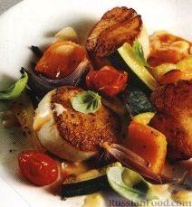 Рецепт Жареные морские гребешки с печеными овощами