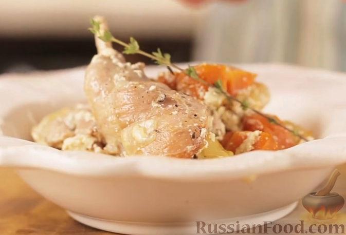 Рецепт Кролик, запеченный в сливках, с овощами