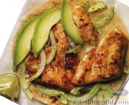 Рецепт Закуска с жареной рыбой и авокадо