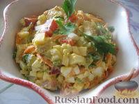 """Фото к рецепту: Салат """"Пестренький"""" со свининой, овощами, сыром"""