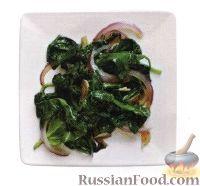 Фото к рецепту: Жареный шпинат с луком