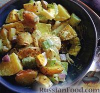 Фото к рецепту: Картофельный салат с сельдереем, луком и яйцом