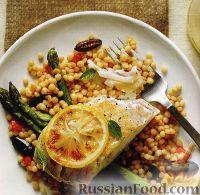 Фото к рецепту: Жареное филе палтуса с кускусом