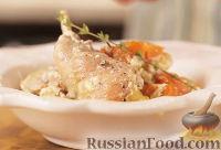 Фото к рецепту: Кролик, запеченный в сливках, с овощами