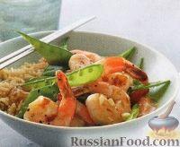 Фото к рецепту: Креветки с зеленым горошком