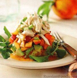 Рецепт Персиковый салат с авокадо и крабовым мясом