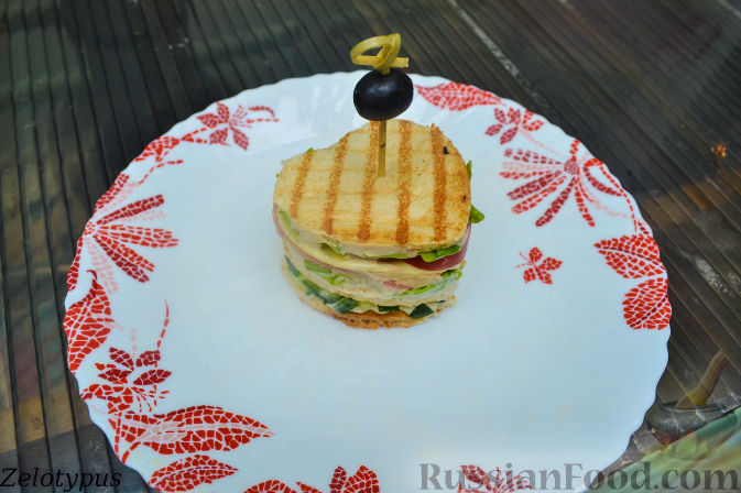 Рецепт Закуска из тостового хлеба, с креветками и свежими овощами