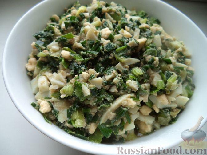 Рецепт Начинка для пирожков с зеленым луком и яйцом
